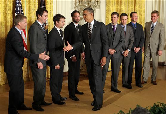 President Obama shakes hands on September 7, 2011 in Washington, DC.