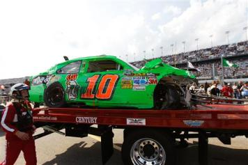 2012 Daytona Feb NCSCS Duel 1 Danica Patrick Wrecked 10 car rollback