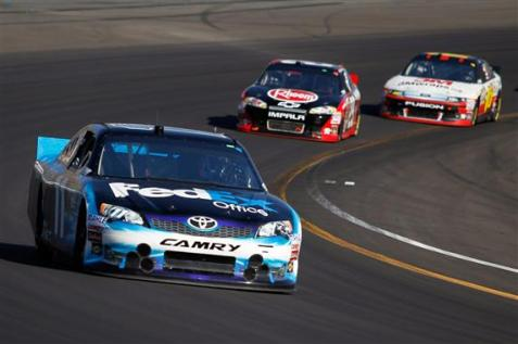 2012 Phoenix March NSCS Race Denny Hamlin leads Kevin Harvick Greg Biffle