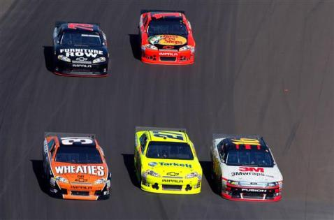 2012 Phoenix March NSCS Race Threewide Jeff Burton Paul Menard Greg Biffle