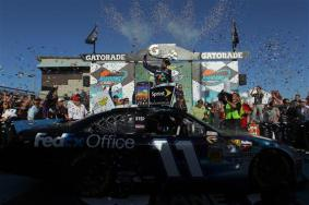 2012 Phoenix March NSCS Race Victory Lane Denny Hamlin Wide