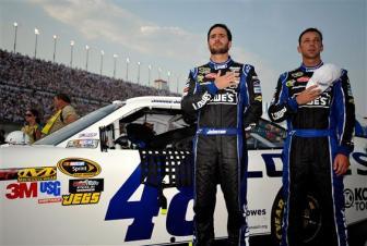 2012 Kentucky June NASCAR Sprint Cup Series Race Jimmie Johnson Chad Knaus National Anthem