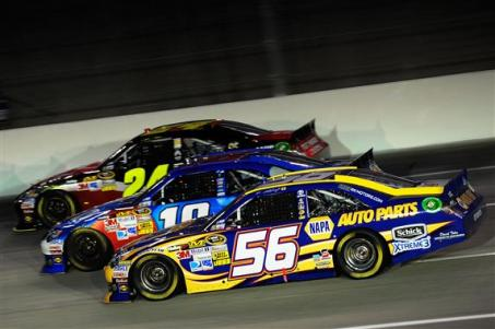 2012 Kentucky June NASCAR Sprint Cup Series Race Threewide Jeff Gordon Kyle Busch Martin Truex Jr