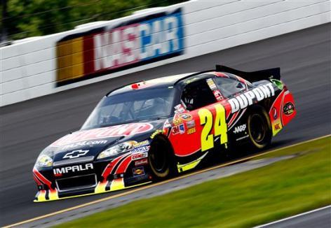 2012 Pocono June NASCAR Sprint Cup Practice Jeff Gordon Car On Track