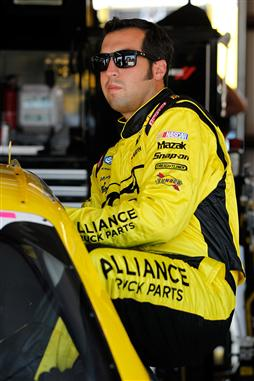 2012 Chicagoland Sam Hornish Jr Climbs Into Car In Garage