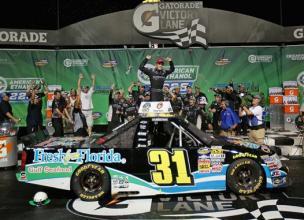 2012 Chicagoland Trucks James Buescher Celebrates In Victory Lane