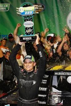 2012 Chicagoland Trucks James Buescher Celebrates With Trophy