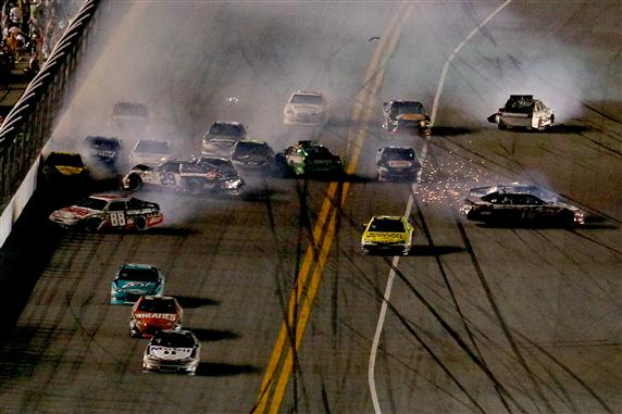 2012 Daytona July NASCAR Sprint Cup Series Race Finish Incident Big One Wreck