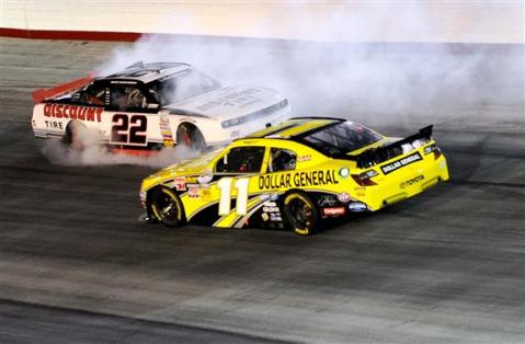 2012 Bristol2 Brad Keselowski Spins Out In Front Of Brian Scott