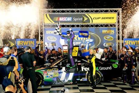 2012 Bristol2 Denny Hamlin Celebrates In Victory Lane