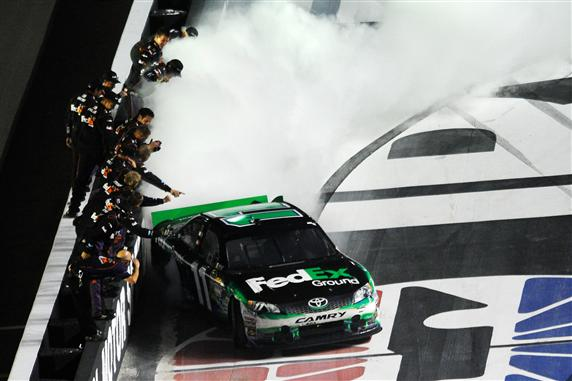2012 Bristol2 Denny Hamlin Celebrates With Burnout
