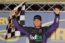 2012 Bristol2 Denny Hamlin Celebrates With Checkered Flag