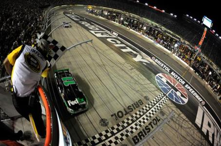 2012 Bristol2 Denny Hamlin Takes Checkered Flag