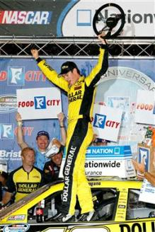 2012 Bristol2 Nationwide Joey Logano Celebrates In Victory Lane