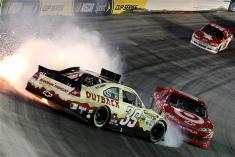 2012 Bristol2 Ryan Newman Spins In Front Of Juan Pablo Montoya