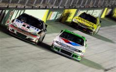 2012 Bristol2 Tony Stewart Matt Kenseth Race Alongside Each Other