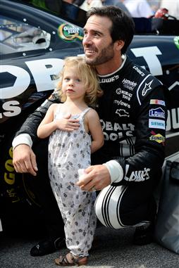 2012 Chase Race #1 from Chicagoland Jimmie Johnson on pit road with daughter