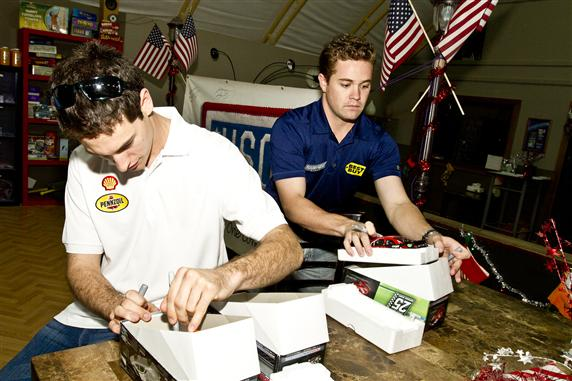 Joey Logano and Ricky Stenhouse Jr. USO Visit Kuwait Autographs