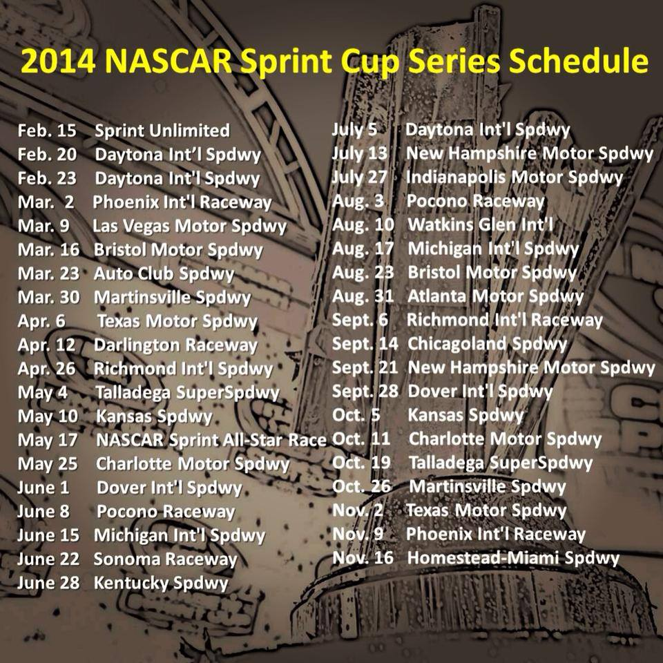 2013) – NASCAR announced today the NASCAR Sprint Cup Series schedule ...