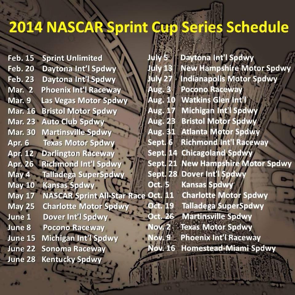 NASCAR Announces 2014 Sprint Cup Series Schedule