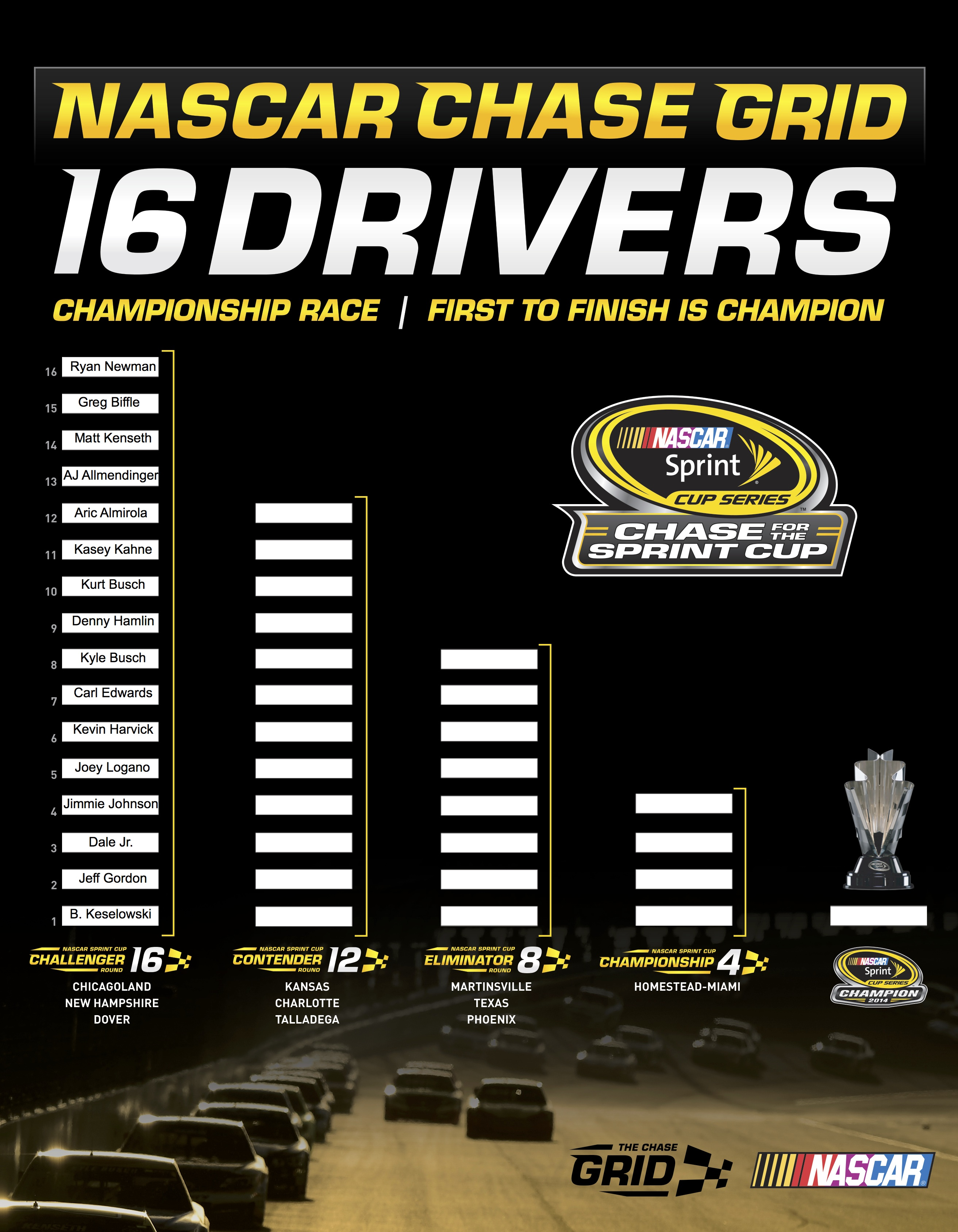 Adorable image pertaining to nascar chase grid printable