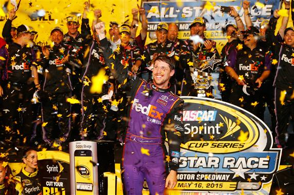 Denny Hamlin holds off Kevin Harvick for Sprint All-Star Race victory