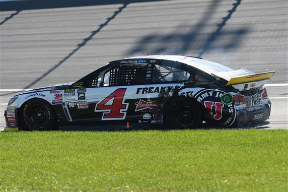 during the NASCAR Sprint Cup Series myAFibRisk.com 400 at Chicagoland Speedway on September 20, 2015 in Joliet, Illinois.