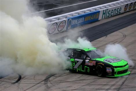 during the NASCAR XFINITY Series Hisense 200 at Dover International Speedway on October 3, 2015 in Dover, Delaware.