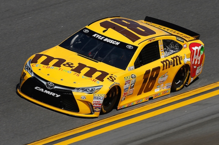 DAYTONA BEACH, FL - FEBRUARY 14: Kyle Busch, driver of the #18 M&M's 75 Toyota, drives during qualifying for the NASCAR Sprint Cup Series Daytona 500 at Daytona International Speedway on February 14, 2016 in Daytona Beach, Florida. (Photo by Jeff Zelevansky/Getty Images)