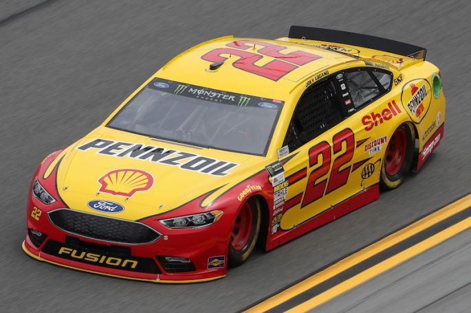 DAYTONA BEACH, FL - FEBRUARY 18:  Joey Logano, driver of the #22 Shell Pennzoil Ford, drives during practice for the Monster Energy NASCAR Cup Series 59th Annual DAYTONA 500 at Daytona International Speedway on February 18, 2017 in Daytona Beach, Florida.  (Photo by Chris Graythen/Getty Images)