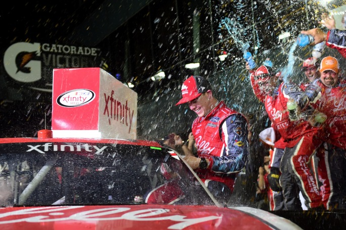 DAYTONA BEACH, FL - FEBRUARY 25:  Ryan Reed, driver of the #16 Lilly Diabetes Ford, celebrates in Victory Lane after winning the NASCAR XFINITY Series PowerShares QQQ 300 at Daytona International Speedway on February 25, 2017 in Daytona Beach, Florida.  (Photo by Jared C. Tilton/Getty Images)