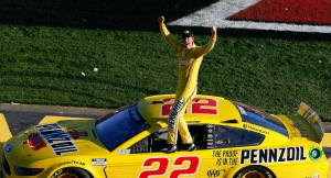 LAS VEGAS, NEVADA - FEBRUARY 23: Joey Logano, driver of the #22 Pennzoil Ford, celebrates his win during the NASCAR Cup Series Pennzoil 400 at Las Vegas Motor Speedway on February 23, 2020 in Las Vegas, Nevada. (Photo by Jonathan Ferrey/Getty Images)